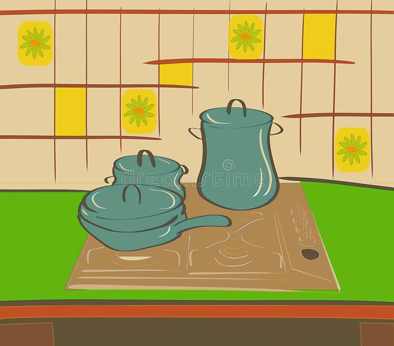 Download Colorful Stylized Kitchen With Pots Stock Illustration - Image: 13437667