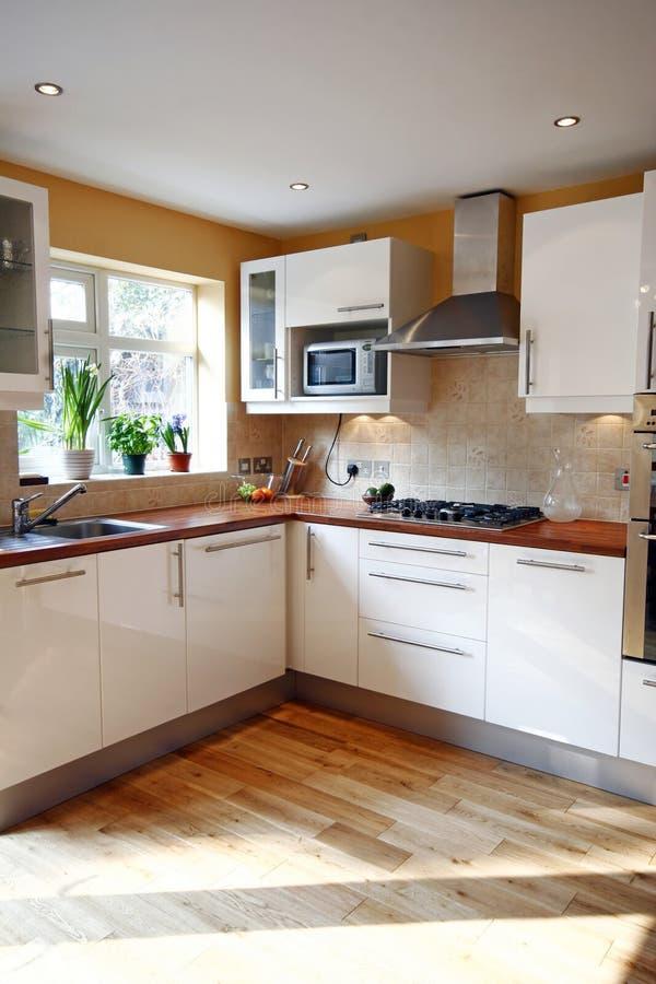 Kitchen. Modern white kitchen with wooden floors