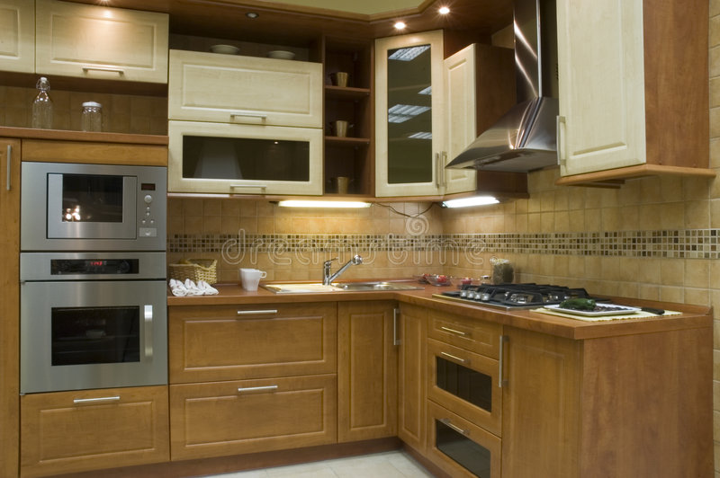 Kitchen. Modern kitchen interior with integrated appliances stock image