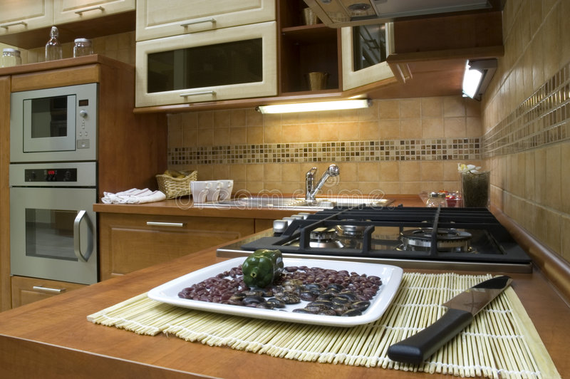 Kitchen. Modern kitchen interior with integrated appliances stock image