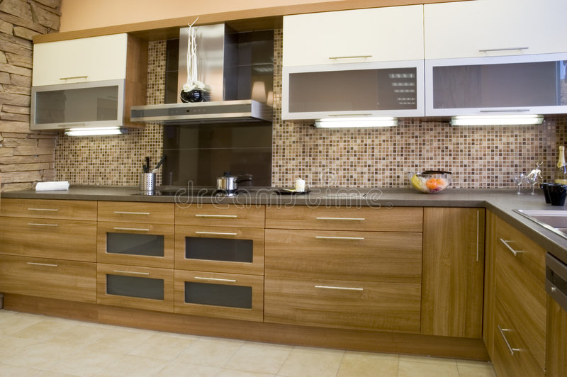 Kitchen. Modern kitchen interior with integrated appliances royalty free stock photography