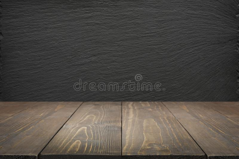 Download Kitchen Abstract Background Empty Wooden Tabletop And Black Slate Chalkboard For Display Or Montage