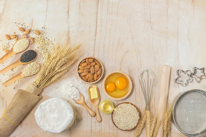 Kitchen accessories and Baking ingredients royalty free stock images