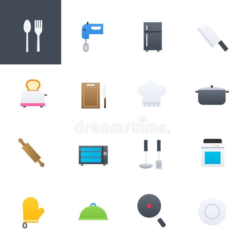 Kitchen Accessories and Cooking Colourful Icons Set, Vector Illustration Design. Kitchen Accessories and Cooking Colourful Icons, Vector Illustration Design vector illustration