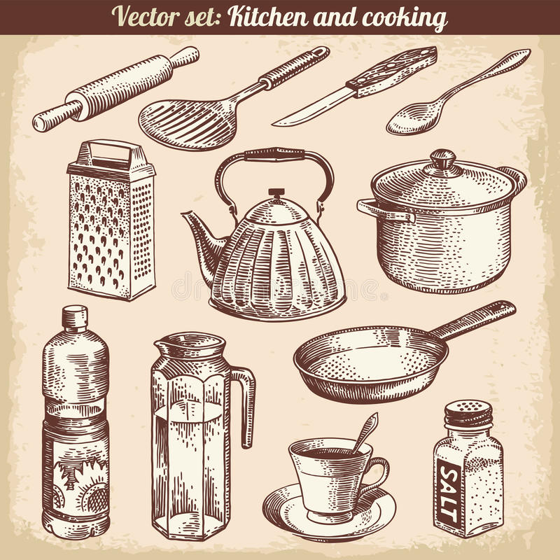 Free Kitchen And Cooking Set Vector Stock Image - 34411131
