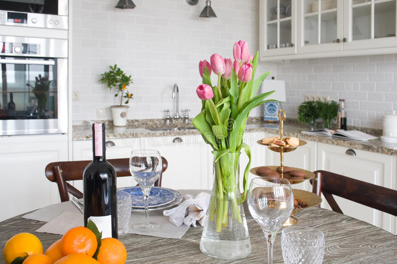 Kitchen in apartment royalty free stock images
