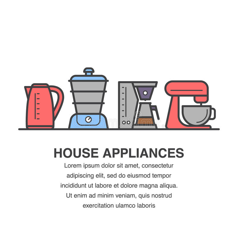 Kitchen appliances banner design for advertisement with kettle, steamer, coffee maker and mixer bowl icons. vector illustration