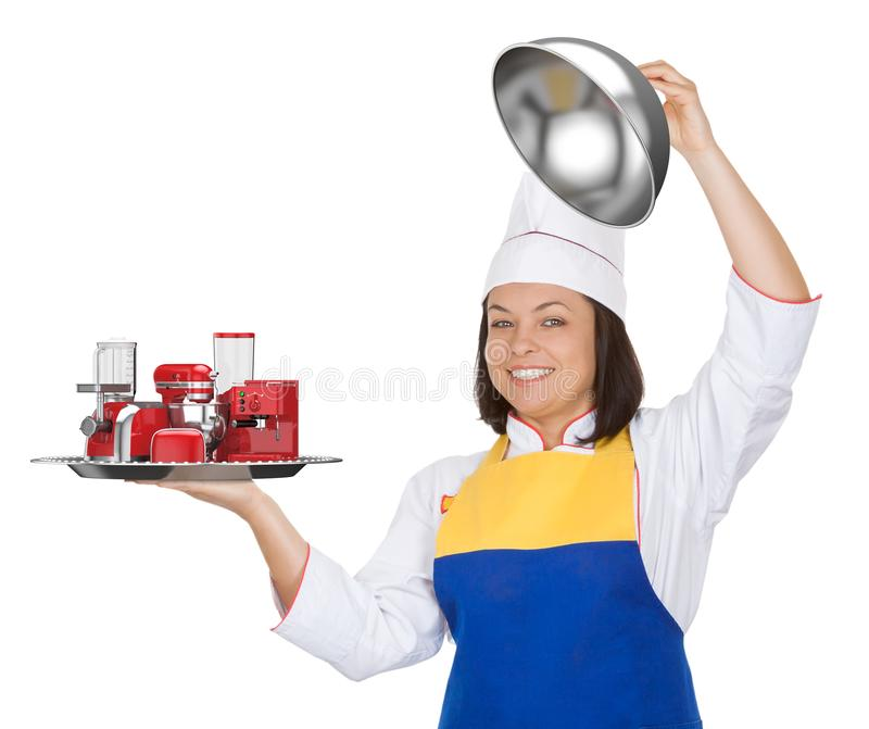 Kitchen Appliances Set. Beautiful Young Woman Chef with Red Blender, Toaster, Coffee Machine, Meat Ginder, Food Mixer and Coffee stock photo