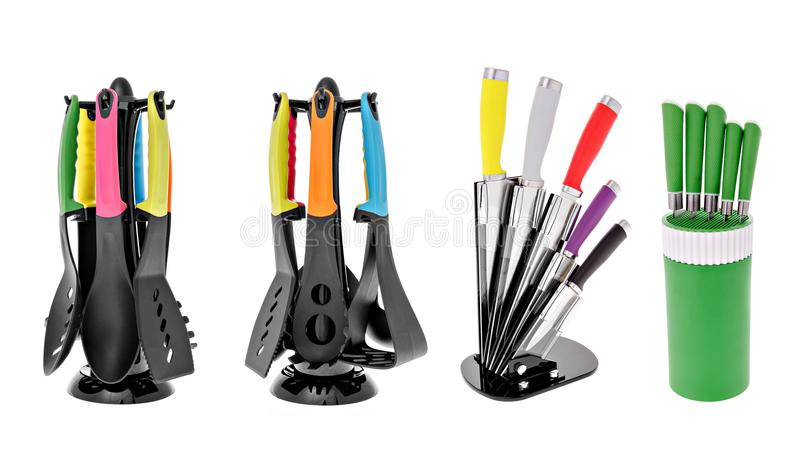 Kitchen appliances, a set of spoons, knives. Forks on an isolated white background stock photography