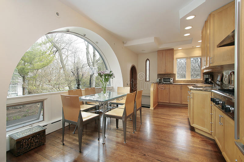 Kitchen with arched window stock image