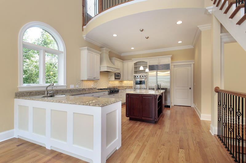Kitchen with balcony royalty free stock images