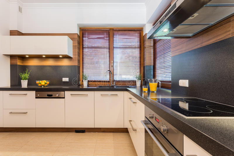 Kitchen with black wheat stock images