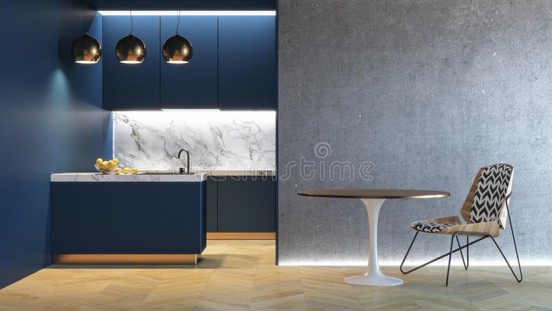 Kitchen blue minimalistic interior. 3d render illustration mock up. stock illustration