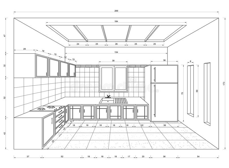 Kitchen blueprint 3d perspective stock illustration illustration download kitchen blueprint 3d perspective stock illustration illustration of architecture carpentry 92292822 malvernweather