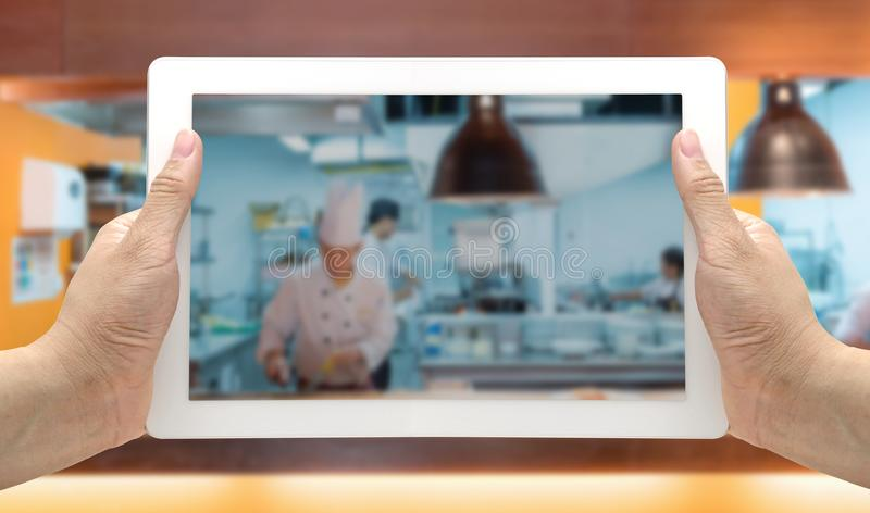 Kitchen Blurred Background tablet stock photography