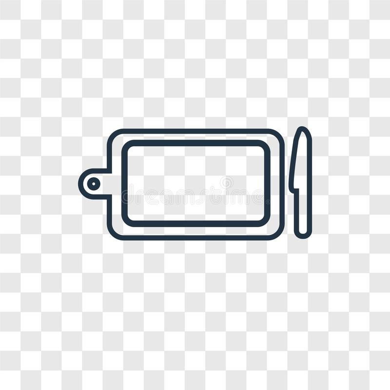 Kitchen board concept vector linear icon on transparent vector illustration