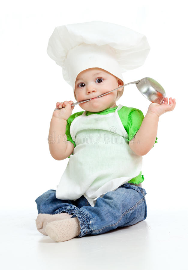 Kitchen boy with ladle. On white background royalty free stock image