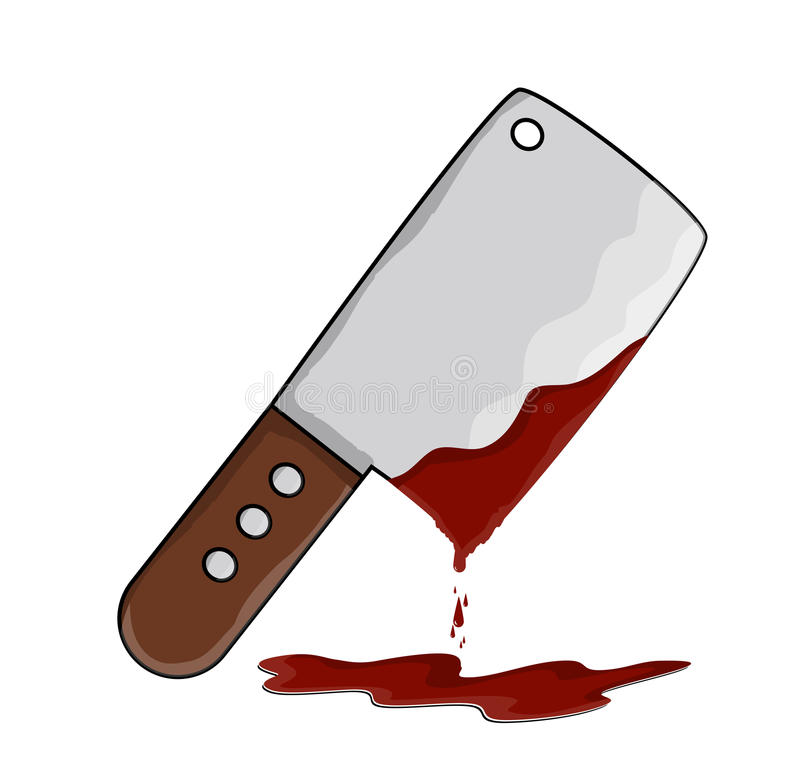 Kitchen butcher chopper with blood vector symbol icon design. royalty free illustration