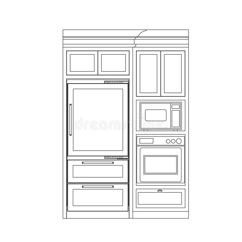 Download Kitchen cabinet stock vector. Image of drawings, design - 14125621