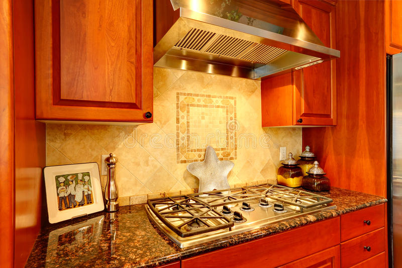 Kitchen Cabinet With Granite Top And Built-in Stove Stock Photo ...