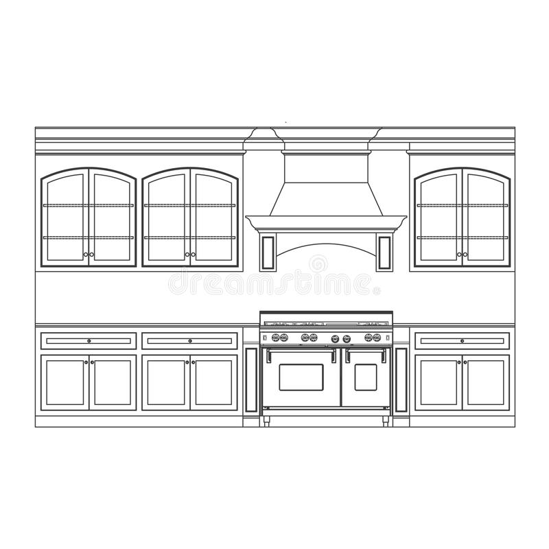 Kitchen cabinets. Kitchen cabinet elevation line drawings vector illustration