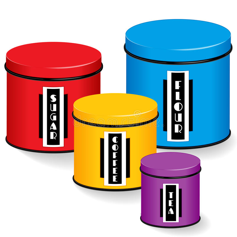 Download Kitchen Canisters With Art Deco Labels Stock Vector   Illustration  Of Flour, Large: