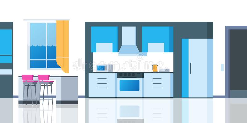 Kitchen cartoon interior. House flat room with table fridge kitchenware oven dining apartment. Vector kitchen counter. Kitchen cartoon interior. House flat room royalty free illustration