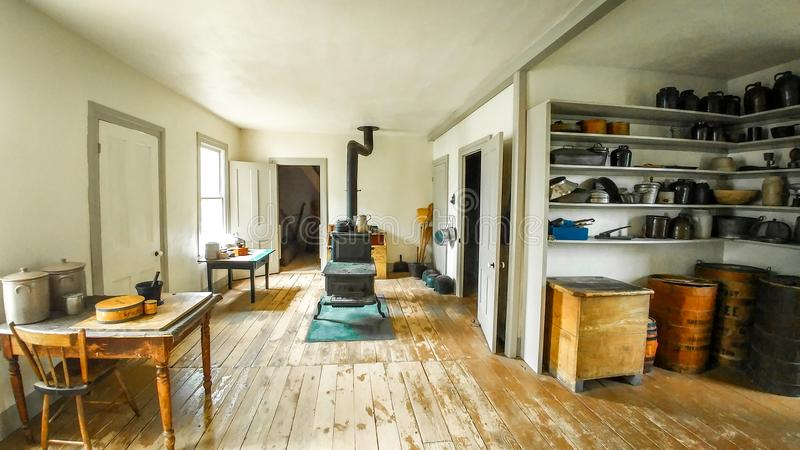 Kitchen with Cast Iron Stove - Old World Wisconsin stock photos