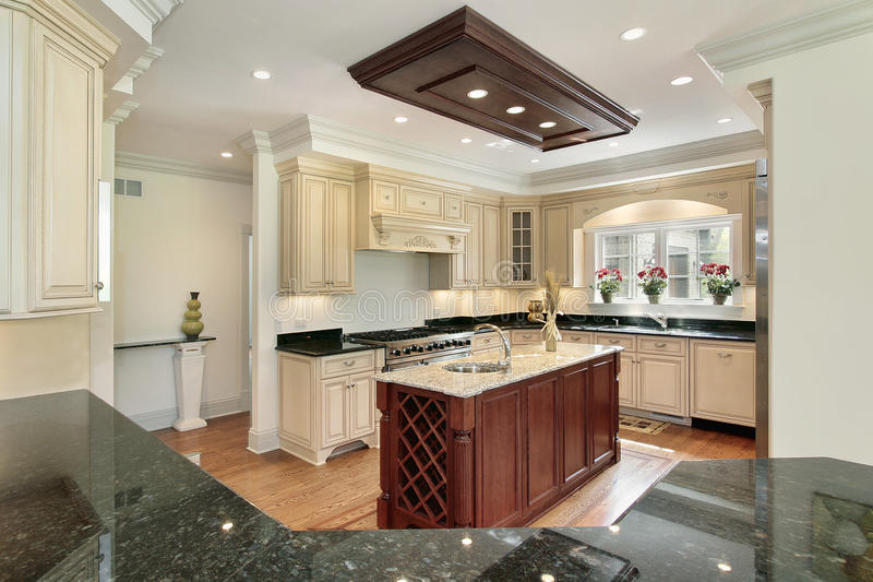 Kitchen with center island stock photo. Image of home - 13028758