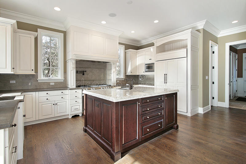 Kitchen with center island stock photography