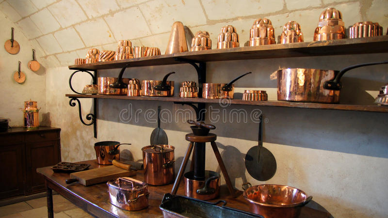 kitchen of chateau chenonceau in loire valley stock image image of medici copper 54028453. Black Bedroom Furniture Sets. Home Design Ideas