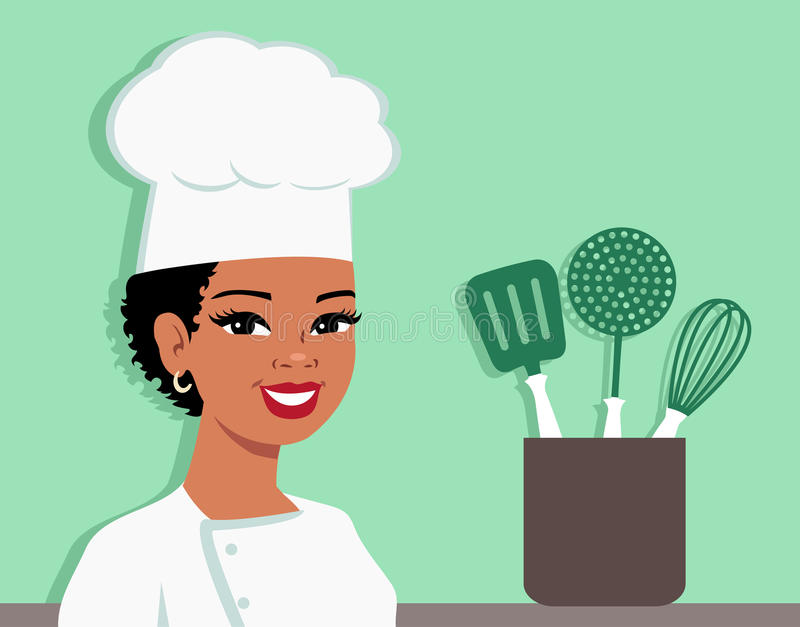Kitchen Chef Cartoon Baker Illustration of Woman. Illustration of an african american or hispanic black cartoon girl with dark skin wearing Chef Hat and looking