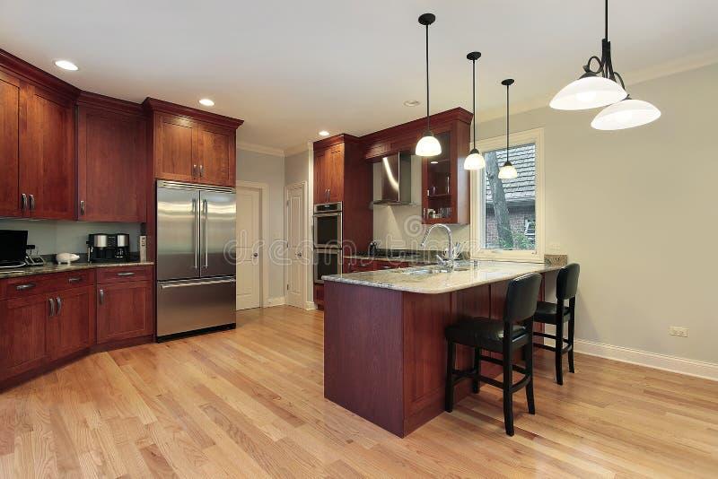Kitchen With Cherry Wood Floor Stock Photo Image Of Floor Luxury 12656978