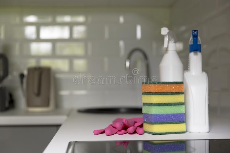 Kitchen cleaning tools. Household equipment, spring-cleaning, ti stock photos