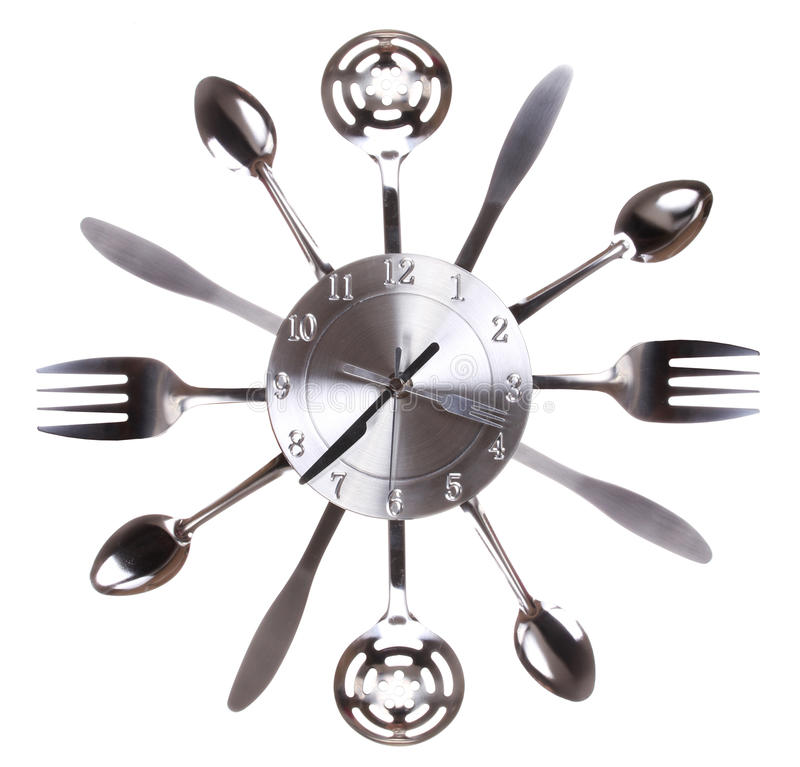 Free Kitchen Clock With Spoons And Forks. Concept. Time Passes In Kitchen Stock Images - 33227284