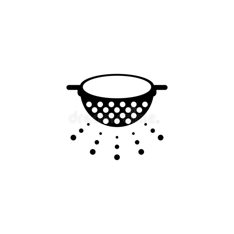 Kitchen Colander, Pasta Strainer Flat Vector Icon vector illustration