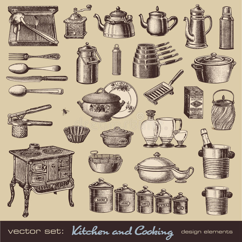 Kitchen and cooking design elements vector illustration