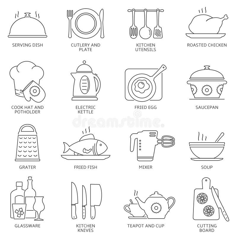 Kitchen and cooking icons royalty free illustration