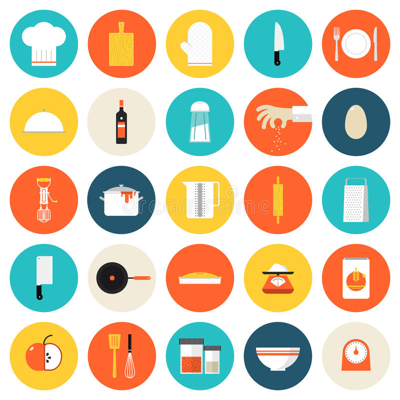 Kitchen cooking tools and utensils flat icons stock illustration