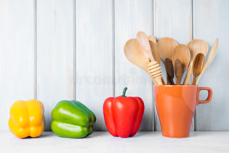 Kitchen cooking utensils in ceramic cup royalty free stock photos