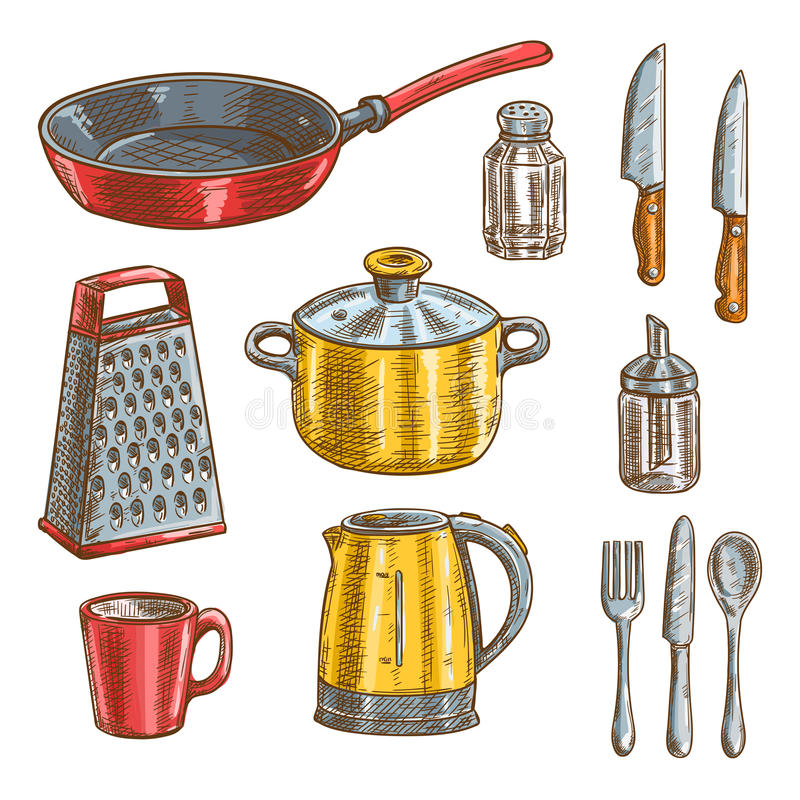 Kitchen and cooking utensils sketches stock illustration