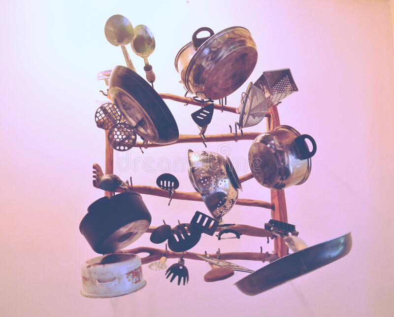 Kitchen Cookware Piled Up On Brown Wooden Rack Free Public Domain Cc0 Image