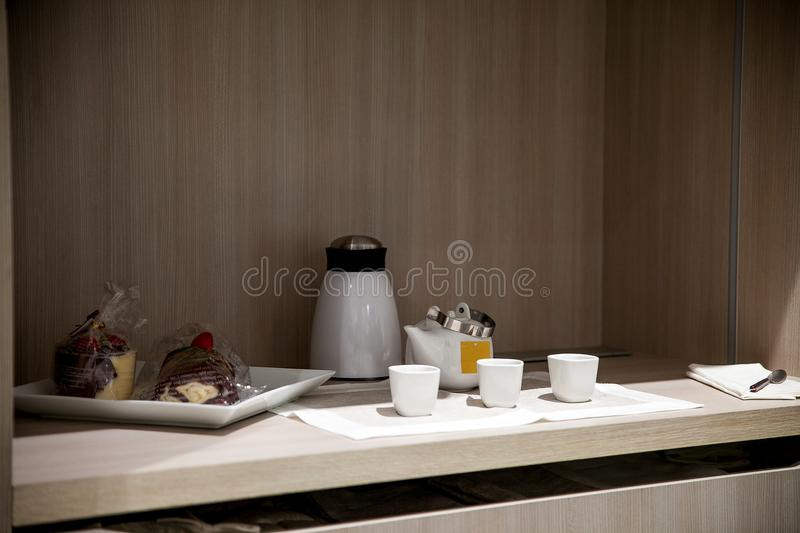 Kitchen corner detail for breakfast with household items. stock image