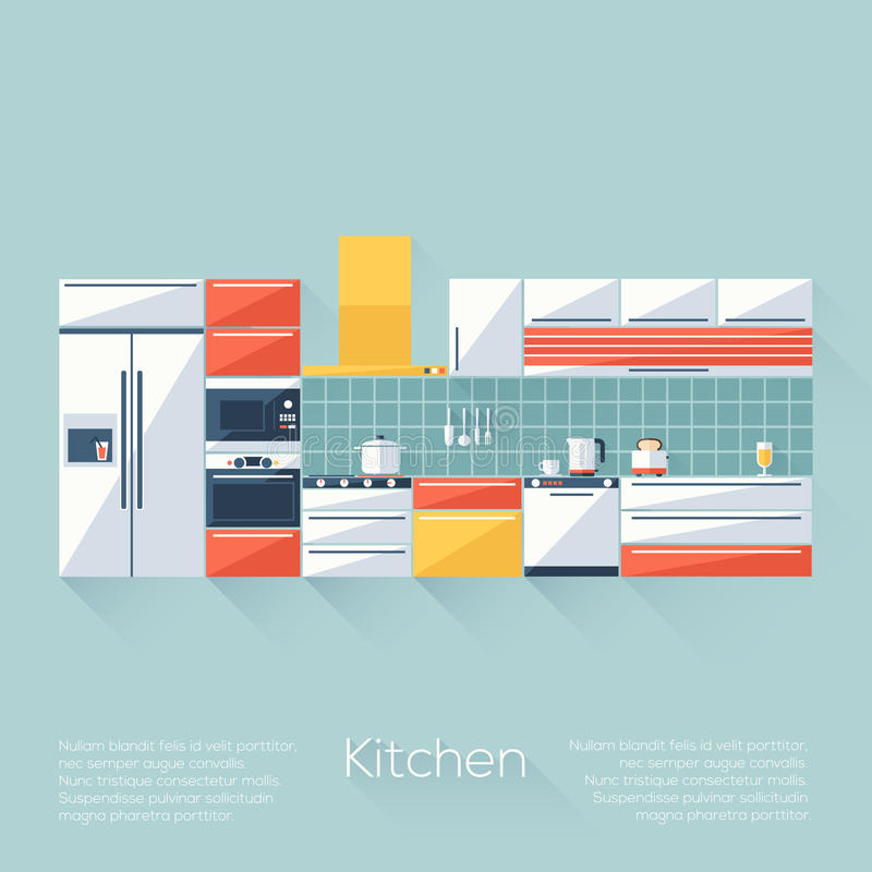Kitchen Cover with Fridge, Stove, Dishwasher, Toaster and Microwave. Flat style with long shadows. Modern trendy design. royalty free illustration