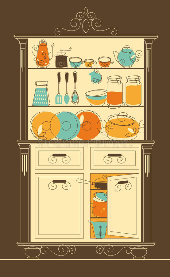 Kitchen cupboard. Vector illustration - Kitchen cupboard in old-fashion style royalty free illustration
