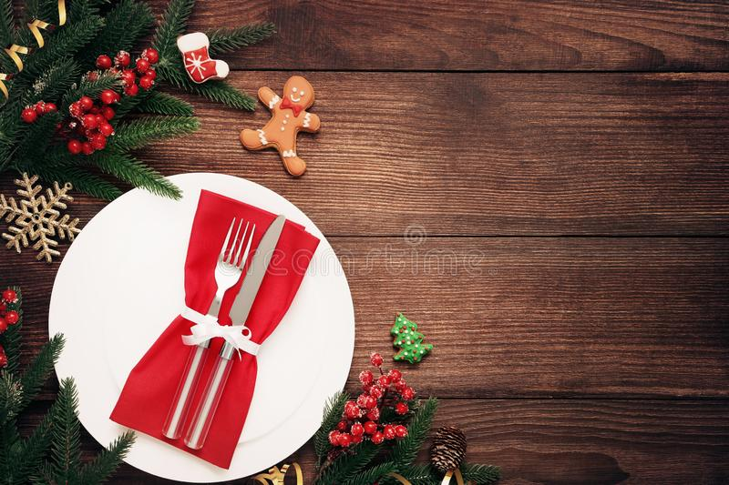 Kitchen cutlery with gingerbread cookies stock photo