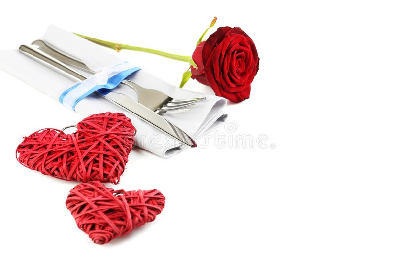 Kitchen cutlery with hearts royalty free stock photo