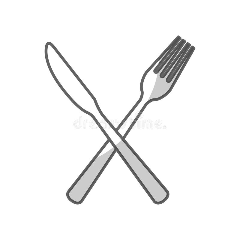 Kitchen cutlery icons. Knife and fork kitchen cutlery silhouette icon vector illustration design vector illustration