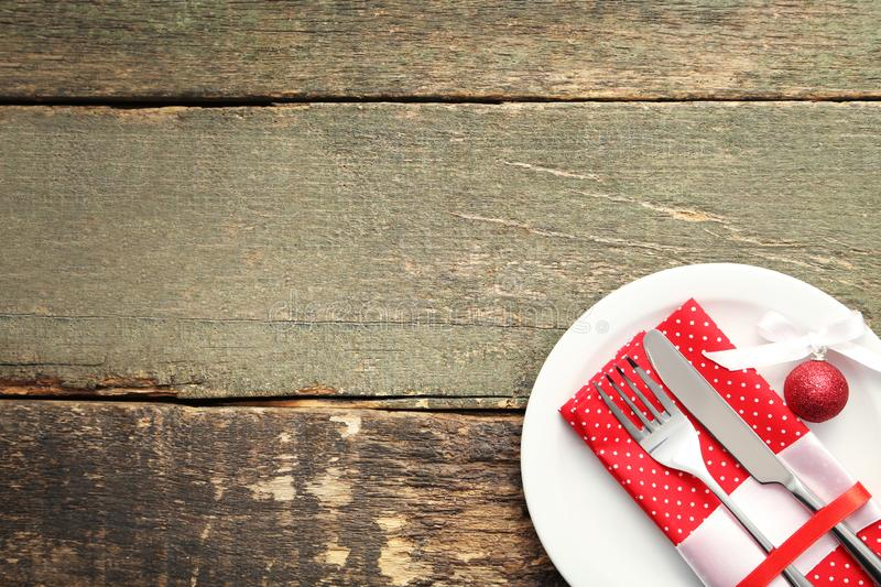 Kitchen cutlery with napkin stock image
