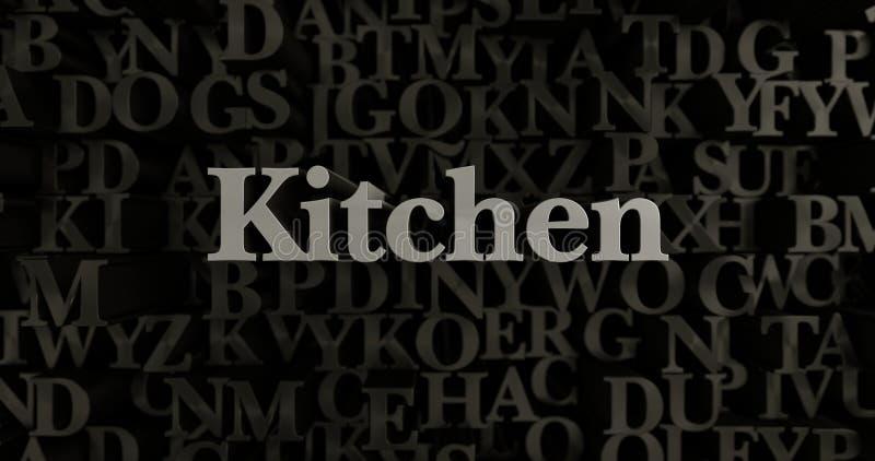 Kitchen - 3D rendered metallic typeset headline illustration vector illustration